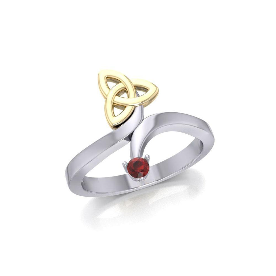Celtic Trinity Knot with Round Gem Silver and Gold Ring MRI1788