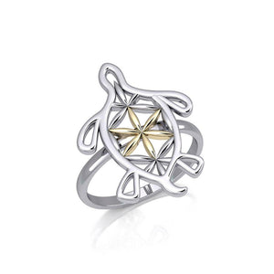 Turtle with Flower of Life Shell Silver and Gold Ring MRI1894 peterstone.