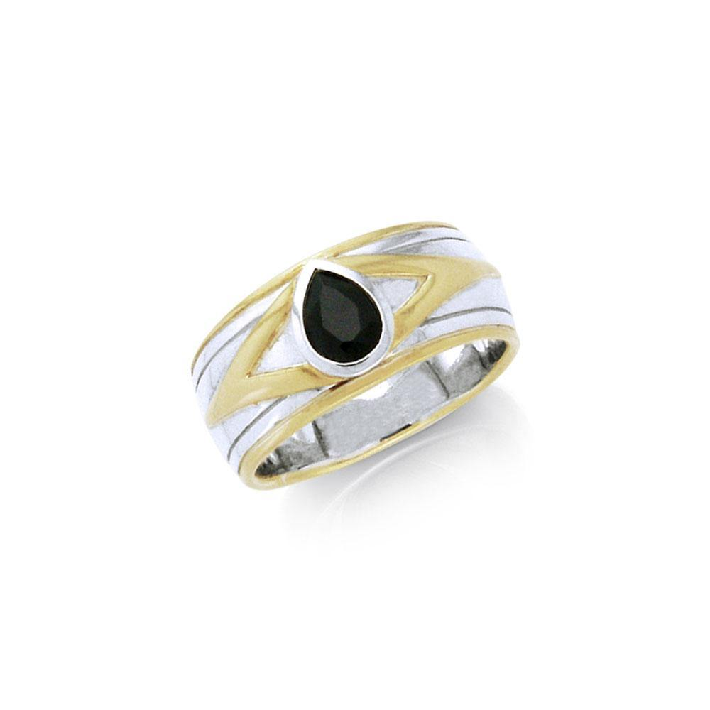 Blaque Teardrop Solitare Ring  MRI476