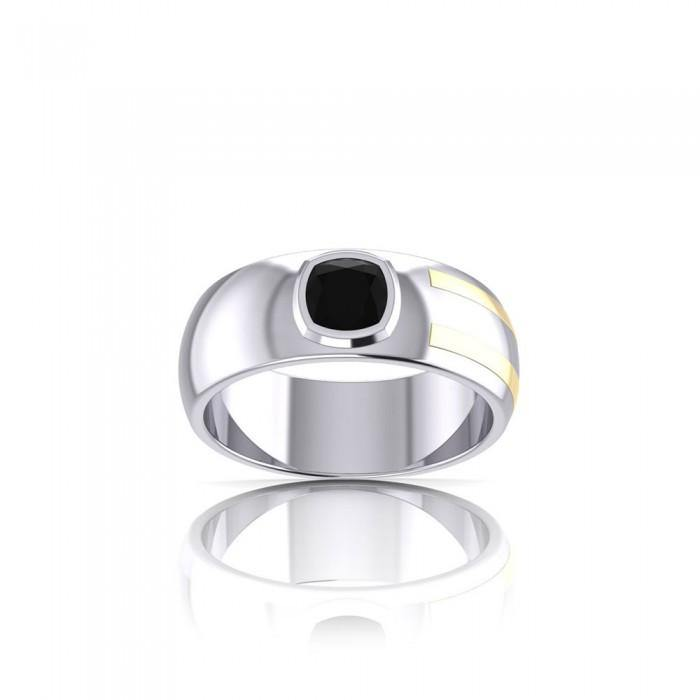 Blaque Rectangle Solitare Ring MRI478 peterstone.