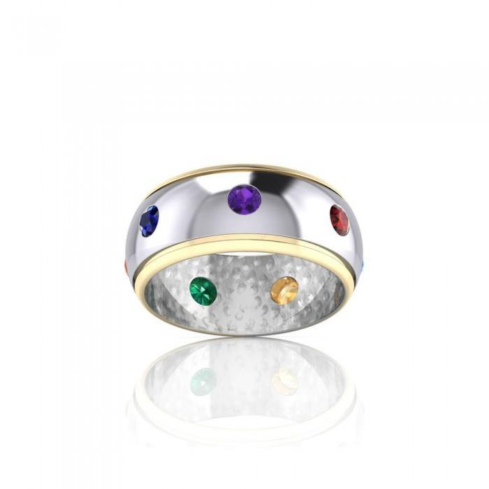 Silver and Gold Chakra Ring MRI488 peterstone.