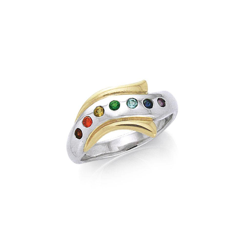 Silver and Gold Chakra Ring MRI489 peterstone.