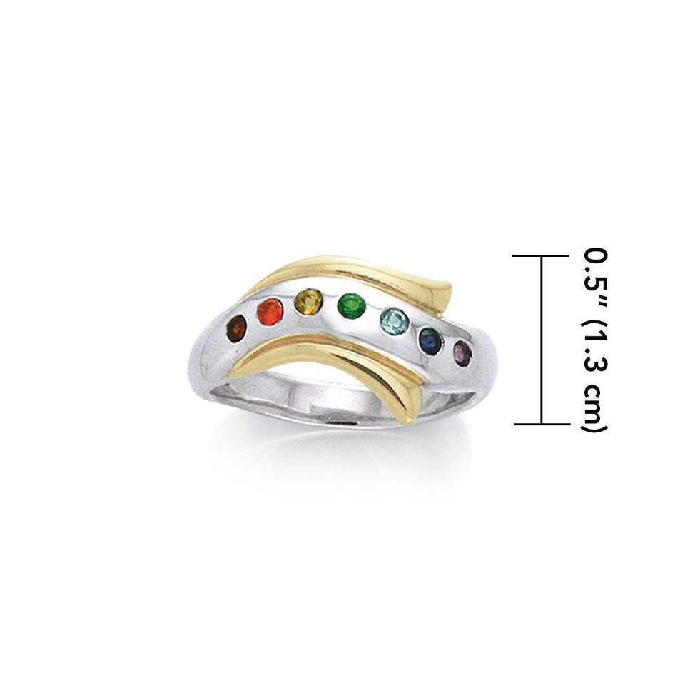 Silver and Gold Chakra Ring MRI489