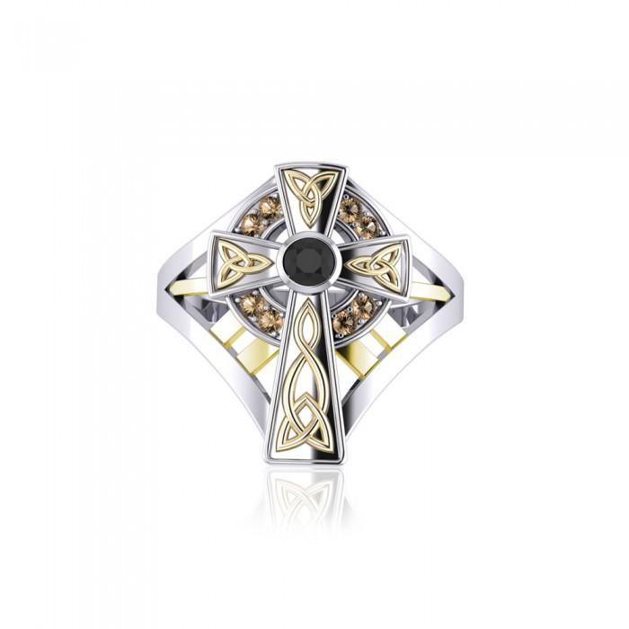 Braided Celtic Cross Silver & Gold Ring MRI654