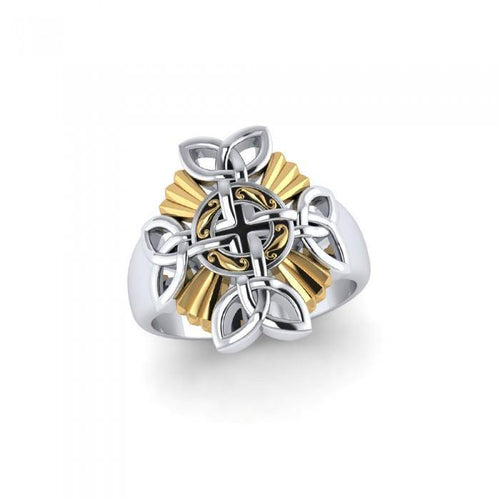 When traditional meets the contemporary ~ Sterling Silver Jewelry Celtic Cross Ring with 18k Gold accent peterstone.