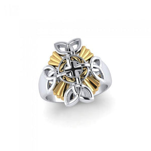 When traditional meets the contemporary ~ Sterling Silver Jewelry Celtic Cross Ring with 18k Gold accent