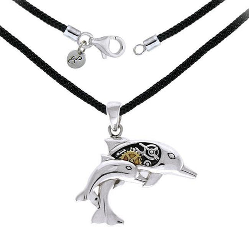 Steampunk Dolphins Sterling Silver Necklace Set MSE690P peterstone.