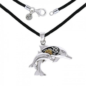 Steampunk Dolphins Sterling Silver and Gold Necklace Set MSE690 peterstone.