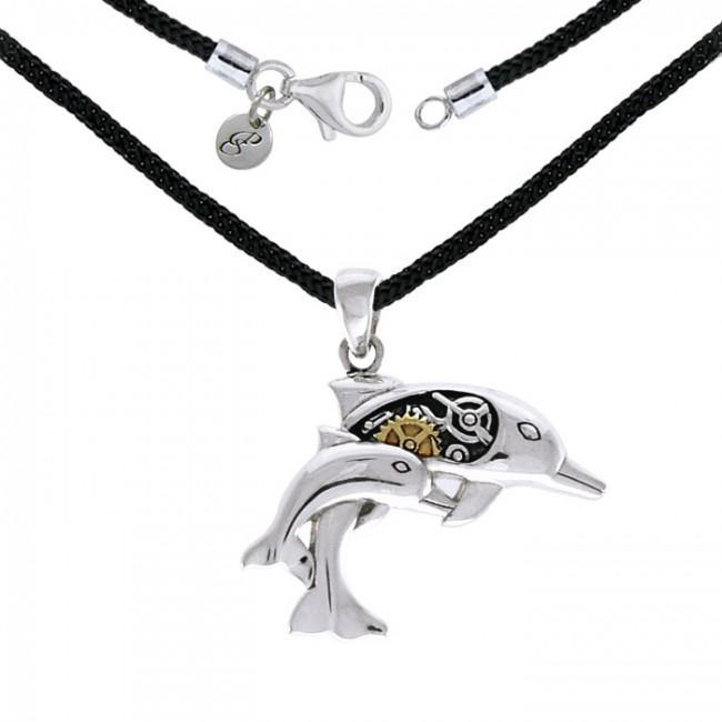 Steampunk Dolphins Silver Necklace Set MSE690