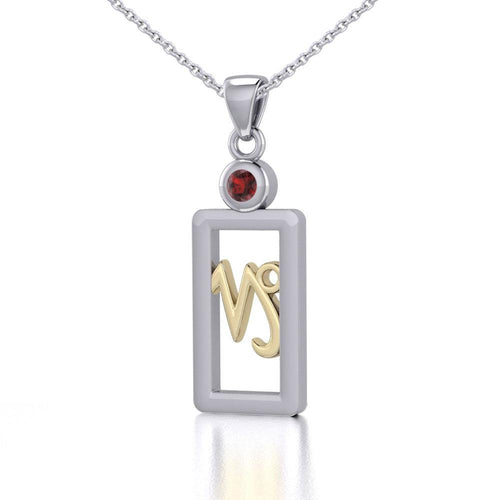 Capricorn Zodiac Sign Silver and Gold Pendant with Garnet and Chain Jewelry Set MSE781 peterstone.