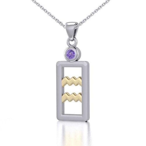 Aquarius Zodiac Sign Silver and Gold Pendant with Amethyst and Chain Jewelry Set MSE782 peterstone.