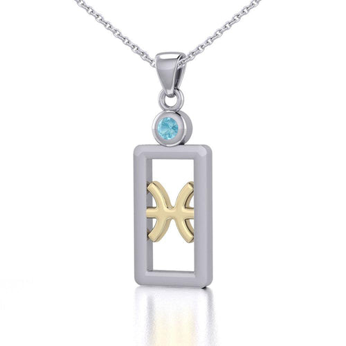 Pisces Zodiac Sign Silver and Gold Pendant with Aquamarine and Chain Jewelry Set MSE783 peterstone.