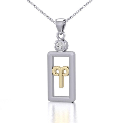 Aries Zodiac Sign Silver and Gold Pendant with White Stone and Chain Jewelry Set MSE784 peterstone.