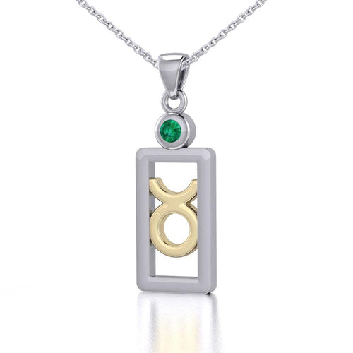 Taurus Zodiac Sign Silver and Gold Pendant with Emerald and Chain Jewelry Set MSE785 peterstone.