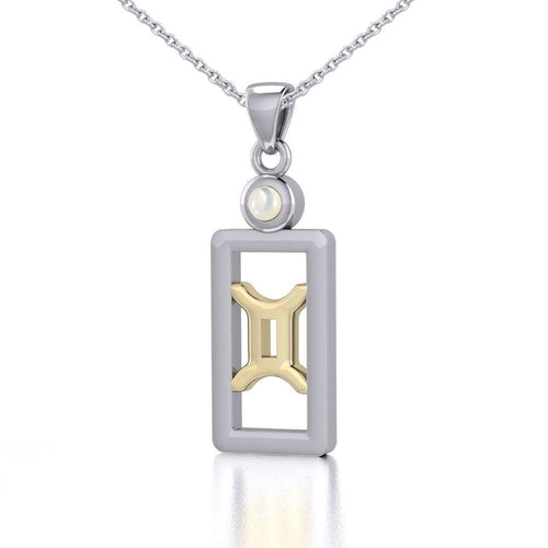 Gemini Zodiac Sign Silver and Gold Pendant with Mother of Pearl and Chain Jewelry Set MSE786 peterstone.