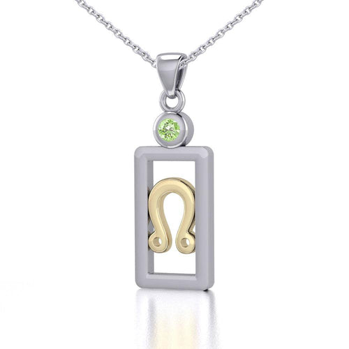Leo Zodiac Sign Silver and Gold Pendant with Peridot and Chain Jewelry Set MSE788
