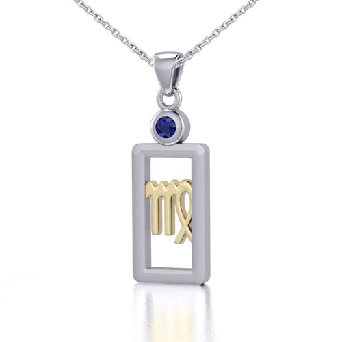 Virgo Zodiac Sign Silver and Gold Pendant with Sapphire and Chain Jewelry Set MSE789 peterstone.