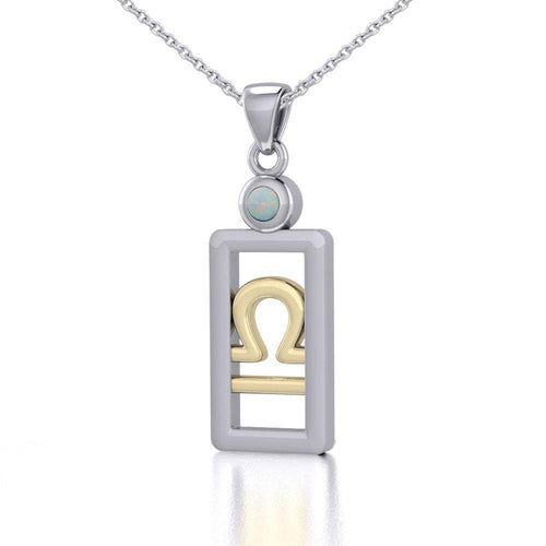 Libra Zodiac Sign Silver and Gold Pendant with Opal and Chain Jewelry Set MSE790 peterstone.