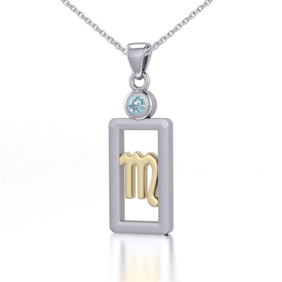 Scorpio Zodiac Sign Silver and Gold Pendant with Blue Topaz and Chain Jewelry Set MSE791