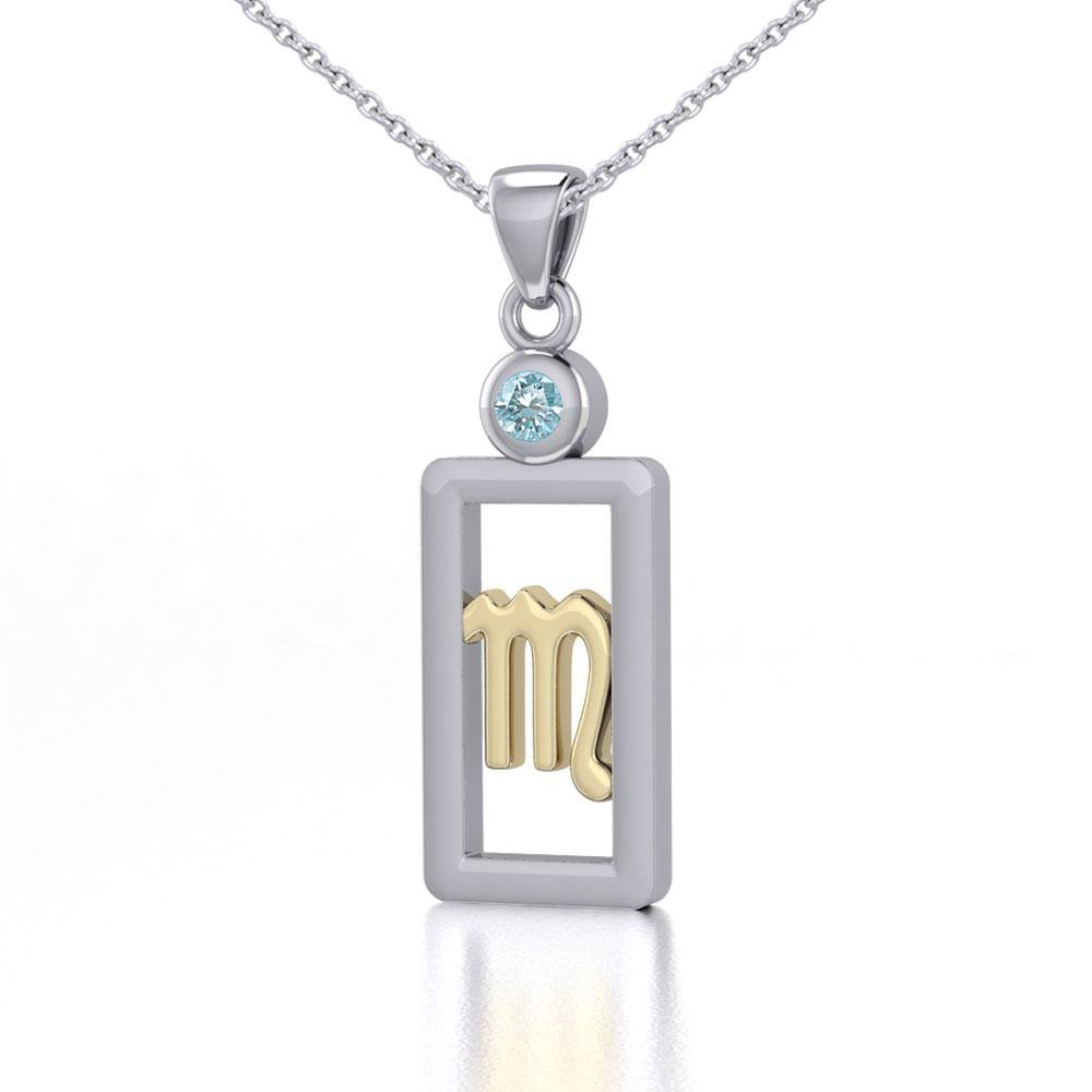 Scorpio Zodiac Sign Silver and Gold Pendant with Blue Topaz and Chain Jewelry Set MSE791 peterstone.