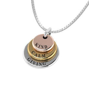 3 Words That Matter Triple Round Yellow Gold, Rose Gold and Silver Charm OSE757P Custom