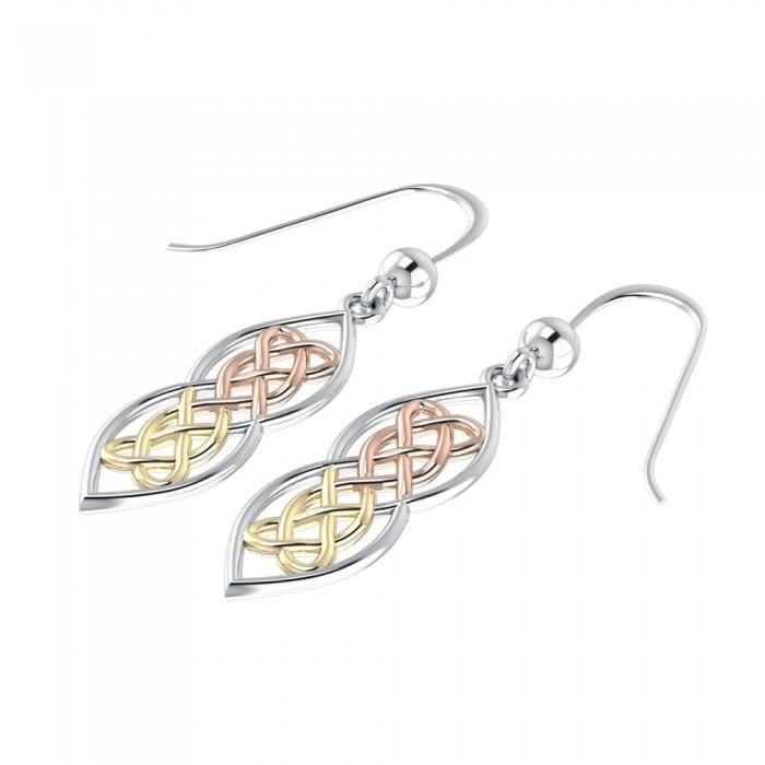 Celtic Knotwork Hearts Three Tone Earrings OTE121