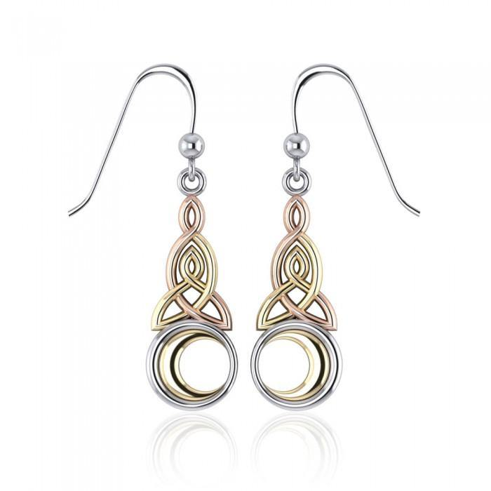 Celtic Moon Triquetra Earrings OTE2565 peterstone.