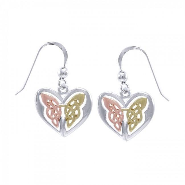 Eternal Heart Celtic Knot Butterfly Three Tone Earrings OTE2935
