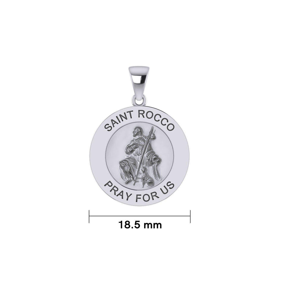 Saint Rocco or St. Roch Silver Medal Pendant (Small 18.5 mm.) TPD5460 peterstone.
