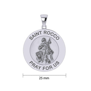 Saint Rocco or St. Roch Silver Medal Pendant (Large 25 mm.) TPD5462 peterstone.