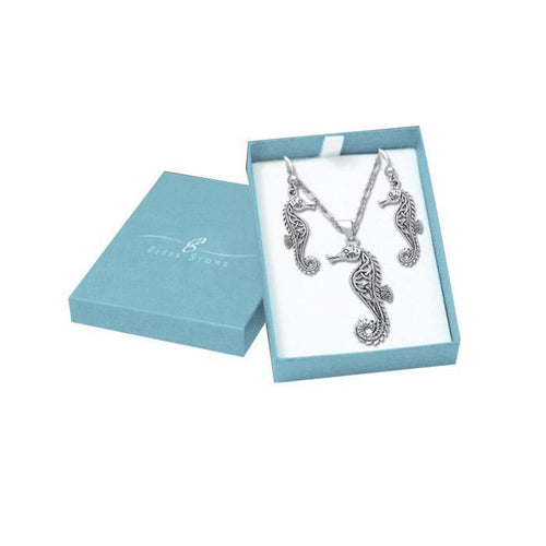 Beautiful as a Seahorse Silver Pendant Chain and Earrings Box Set SET006