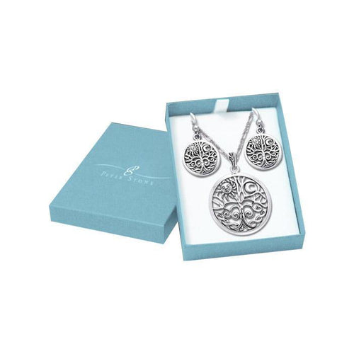 Together we are the Tree of Life Silver Pendant Chain and Earrings Box Set SET007