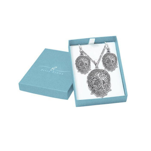 We are the Tree of Life Silver Pendant Chain and Earrings Box Set SET008