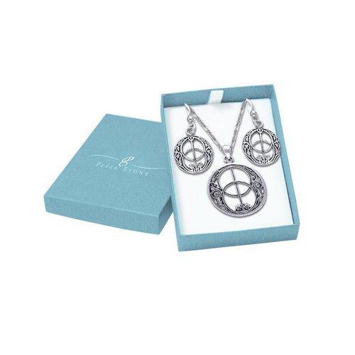 The exquisite beauty of the Chalice Well Silver Pendant Chain and Earrings Box Set SET013 peterstone.