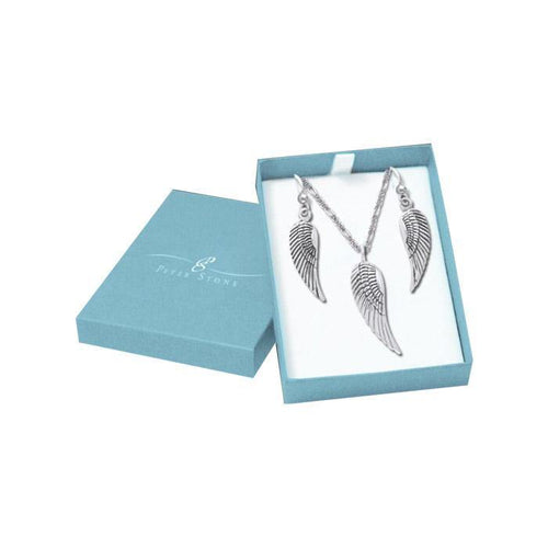 Wrapped by the Wings of an Angel Silver Pendant Chain and Earrings Box Set SET019 peterstone.