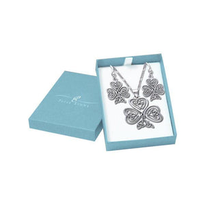 Silver Celtic Shamrock Pendant Chain and Earrings Box Set SET021 peterstone.