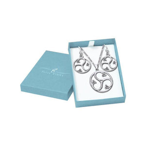 Silver Triskele Pendant Chain and Earrings Box Set SET022 peterstone.