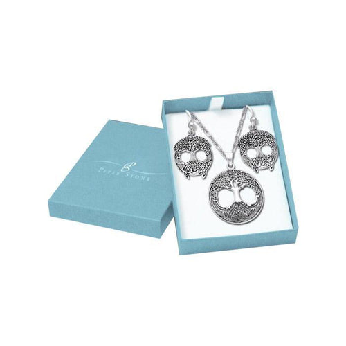 Wondrous Living in the Tree of Life Silver Pendant Chain and Earrings Box Set SET023