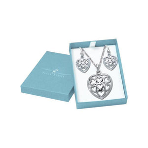 Silver Heart in Heart Pendant Chain and Earrings Box Set SET024 peterstone.