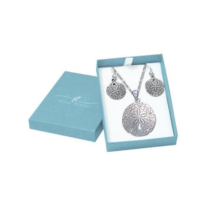 Unique natural beauty Silver Sand Dollar Pendant Chain and Earrings Box Set SET028 peterstone.