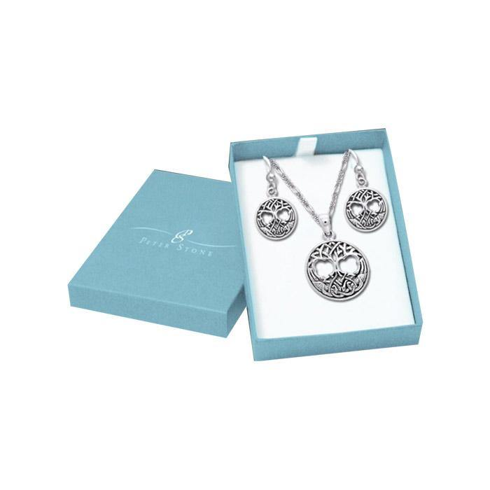 Living in the Tree of Life Silver Pendant Chain and Earrings Box Set SET032 peterstone.