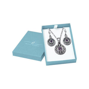 Silver Round Gemstone Celtic Knot Pendant Chain and Earrings Box Set SET033 peterstone.