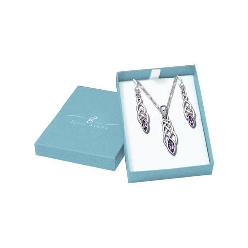 Silver Gemstone Celtic Knot Pendant Chain and Earrings Box Set SET035 peterstone.