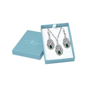 Silver Gemstone Celtic Knotwork Pendant Chain and Earrings Box Set SET039 peterstone.