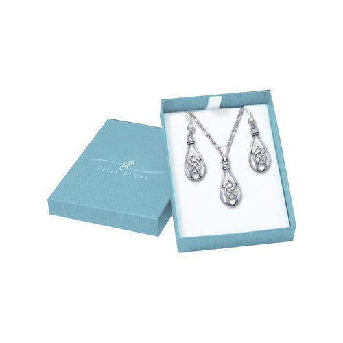 Silver Teardrop Celtic Knotwork Pendant Chain and Earrings Box Set SET041 peterstone.