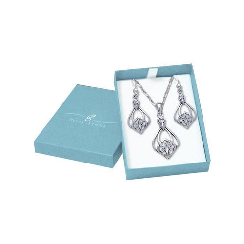 Silver Celtic Knotwork Pendant Chain and Earrings Box Set SET043 peterstone.