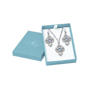 Silver Celtic Gemstone Pendant Chain and Earrings Box Set SET047 peterstone.