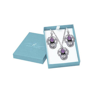 Sterling Silver Vines Pendant Chain and Earrings Box Set SET048 peterstone.