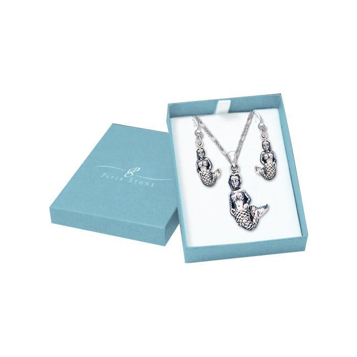 Enchanting Goddess Mermaid Silver Pendant Chain and Earrings Box Set SET051 Set