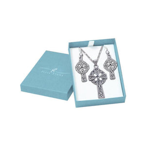 Guided by the Celtic Cross Sterling Silver Pendant Chain and Earrings Box Set SET052 peterstone.